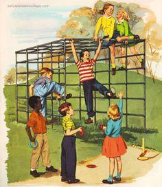 Vintage Childrens School book illustration 1960 playground
