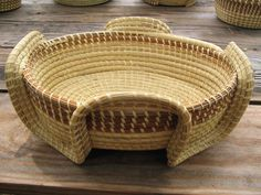 An excellent sweetgrass basket for storing towels or displaying fruit. This basket is everyone\'s favorite. Woven with loving care by Lillie Howard. Rope Basket, Basket Weaving, Nantucket Baskets, Gel Candles, Pine Needle Baskets, Rope Crafts, Pine Needles, Gift Baskets, A Table