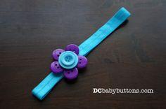Girls Turquoise & Purple Button #Flower #Headband, Adorable Children's Hair Accessory #buttonart #dcbabybuttons