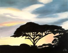 Africa Painting, 14 x 11, Oil Painting, Original Art, Landscape Painting, Sunset Painting, Acacia Tree Painting, Tanzania Art, Cloud Art by CFineArtStudio on Etsy