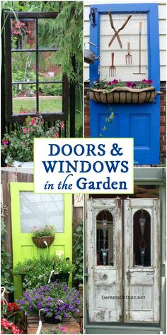 12 Ideas for using doors and windows in the garden Repurpose from the thrift shop or junk pile and see what you can make for your backyard including arbors and privacy sc.