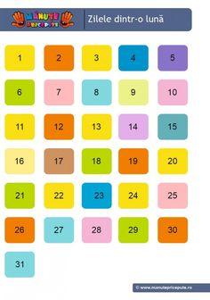 005 - calendarul naturii - data Kindergarten Math Worksheets, Preschool Learning, Astronaut Craft, Kids Routine Chart, Cut And Paste Worksheets, Diy And Crafts, Classroom, Aba, Calendar