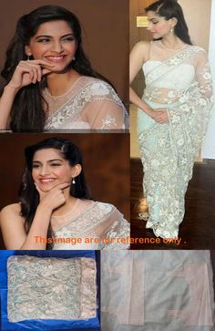 Sonam Kapoor Was Spotted In Sky Blue Transparent Saree With Sleeveless Designer Blouse Exposing Milky Arms,Hot Cleavage And Beautiful Figur. Bollywood Sarees Online, Bollywood Designer Sarees, Designer Sarees Online, Bollywood Fashion, Bollywood Actress, Bollywood Style, Indian Bollywood, Bollywood Celebrities, Lace Saree