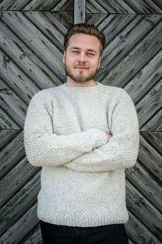 Herresweater i dobbelt perlestrik