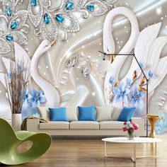 Grandes painéis. Tapestry Wallpaper, Bling Wallpaper, Wallpaper Decor, 3d Wall Decor, Art Decor, Room Decor, Mural Art, Wall Murals, Ceiling Design