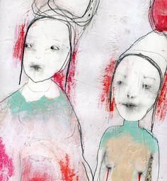 "Collage Art, Mixed Media Painting,Original Painting, Mixed Media Collage, Drawing with Acrylic by Christina Romeo ""Entwine"""