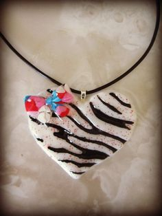 White with Red Glitter Zebra Striped Resin by HauntedHairCandy, $9.00