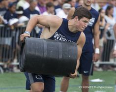 PENN STATE – FOOTBALL 2013 – Quarterback Christian Hackenberg participates in the keg carry during the 11th annual Penn State Football Lift For Life held on the outdoor lacrosse field. Kegs were filled with 50 pounds of sand. Joe Hermitt, PennLive.com