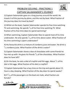 3rd grade math word problems site: fractions 1 captain salamanders journey
