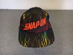 SNAP ON 90S HAT Snapback VTG Nylon Rainbows Fresh Prince Style 1990s Sewn Cap #athleticheadware #freshprince #snapon #snapback