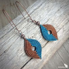 Handcrafted macrame earrings made with Linhasita 0,75 mm thread and metal beads - old copper tone for teal/marron and old bronze tone for burgundy/black. 2 colour combinations are available: Teal - Marron Burgundy - Black Length of earrings is 75 mm for teal/marron and 65 mm for