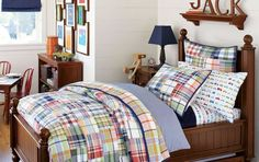 Find Some Best Little Boy Bedroom Ideas: Handsome Plaid And Dark Wood Little Boy Bedroom Ideas With Circus Theme Blue Accents With Coloring White Blanket And Pillows Pictures Frame Also Light Sleeper ~ enferd.com Bedroom Inspiration