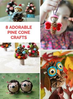 Adorable and cute pine cone crafts for kids. Great projects to do during winter break.