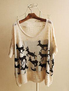 Batwing Sleeve Loose Deer Sweater$46.00