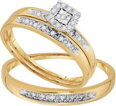 Yellow Gold Women's Bridal Set + Men's Band Round Diamonds Trio His and Her Ring Set (0.08ct. tw)- 40493872