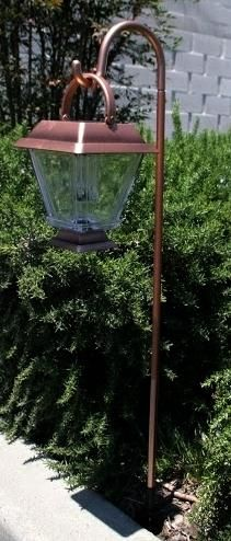 These two bronze finish solar lanterns with hanging cane stake are great for lining walkways, flowerbeds or driveways to provide a warm glow at night.