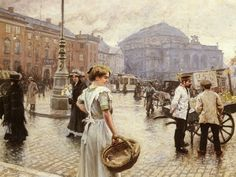 A View Of Kongens Nytorv, Copenhagen by Paul Gustave Fischer
