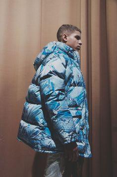 Denim print puffa jacket backstage at Moschino Mens AW15 LCM. See more here: http://www.dazeddigital.com/fashion/article/23125/1/moschino-aw15-livestream