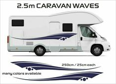 2x MOTORHOME VINYL WAVES STRIPES GRAPHICS STICKERS DECALS CAMPER rv