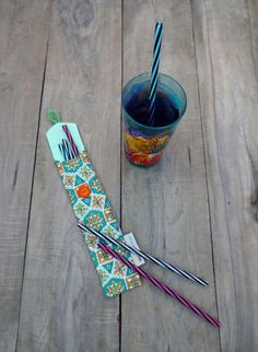 Green and orange prints reusable straw case, zero waste, Reusable straw bag made from recycled fabric X 23, Straw Holder, No Sew Blankets, Stainless Steel Straws, Boutique Ideas, Recycled Fabric, Forks, Green And Orange, Gift Baskets