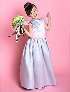 A Line Jewel Floor Length Satin Flower Dress 733929