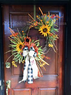 Monogram Wreath Fall Wreath Grapevine by aDOORableWreathsByMH