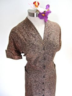 SALE Sz. XL 50s Wiggle Day Dress Button Down by LikewiseVintage