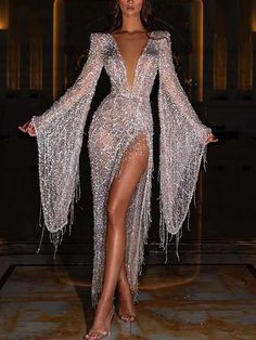 Sexy Abendkleid 2020 Party Cluc Cut Out Kleid in Silber Sexy evening dress 2020 party cluc cut out d Glam Dresses, Elegant Dresses, Pretty Dresses, Beautiful Dresses, Formal Dresses, Nova Dresses, Look Fashion, Fashion Outfits, High Fashion Dresses