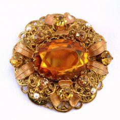 Vintage Ornate GERMANY Filigree Rhinestone Brooch