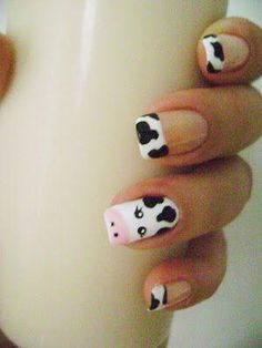 """Cow """"French manicure"""" nails by canday Farm Animal Nails, Animal Nail Art, Pig Nail Art, Animal Nail Designs, Cute Nail Designs, Do It Yourself Nails, Country Nails, Cow Nails, French Manicure Nails"""