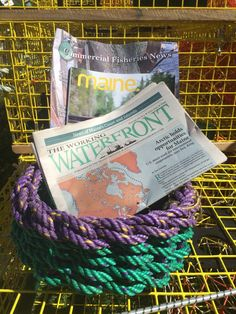A personal favorite from my Etsy shop https://www.etsy.com/listing/226189971/recycled-lobster-float-rope-basket