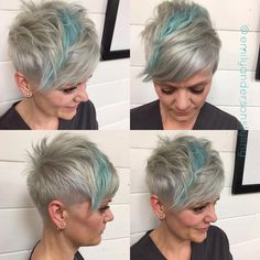 Steel and cotton candy blue for her #pixie yesterday make my happy. #undercut #funcolors #bacocolorsplash #kaaral #pixiestyles #pixiechatpix #pixiehair #silverhair #nothingbutpixies #behindthechair #modernsalon #hairbrained #pixieforlove #americansalon #emilyandersonstyling