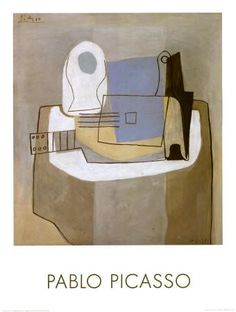 Guitar, Bottle and Fruit Bowl, c.1921 Art Print by Pablo Picasso at Art.com