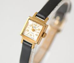 Square women's watch Dawn small gold plated ladys by SovietEra