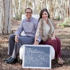 "How darling is this ""Future Mr & Mrs"" sign at this glamorous woodsy wonderland engagement session!?"
