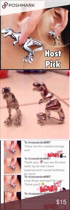 (i2) Silver T-Rex Earrings See pic Jewelry Earrings