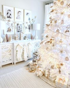 All white Christmas decor.