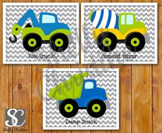 Boys Construction Trucks Wall Art / Construction Vehicles Room Decor / Set of 3 Printable Trucks Wall Art / High Resolution JPEGS (pwa-cs2)