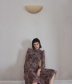 The Model wears Saint Laurent Jaguar-Print Georgette Dress for 2016 lookbook