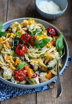 Easy Roasted Vegetable Spaghetti by simplebites: Eat seasonal.  #Pasta #Veggies