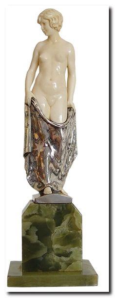 Art Deco Bronze & ivory by Ruisinger. Germany. C1920