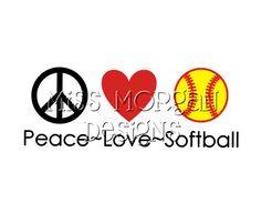 Personalized Peace Love Softball iron on decal vinyl by MissMorgan, $7.00