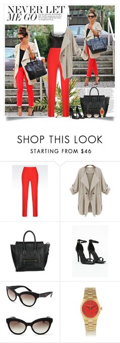"""""""Fashion Hippie Loves: Going out with a trench"""" by nora-nazeer ❤ liked on Polyvore featuring GUESS, Armani Collezioni, CÉLINE, Missguided, Prada and Michael Kors"""
