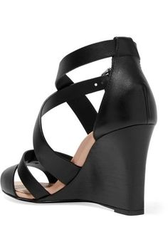 Tod's - Leather Wedge Sandals - Black - IT35.5
