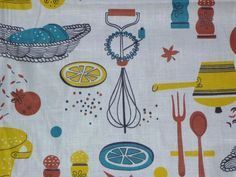 Vtg Mid Century Kitchen Theme Novelty Print Fabric Turquoise Yellow 35 x 72