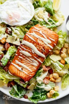 Crispy pan fried Salmon meets Caesar salad for a twist on the traditional! Easy to make with creamy avocado slices, crunchy croutons, the tang of shaved parmesan cheese, a perfect runny poached egg on top and a lightened up Caesar dressing! Salmon Recipes, Fish Recipes, Seafood Recipes, Cooking Recipes, Healthy Recipes, Tilapia Recipes, Orange Recipes, Grilling Recipes, Cooking Tips