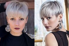 Well, one of the most trendy haircuts this year is the pixie haircut. Short Grey Hair, Short Hair With Bangs, Short Hair Cuts, Short Hair Styles, Short Hairstyles Fine, Hairstyles With Bangs, Cool Hairstyles, Pixie Haircut Gallery, Short Hair Undercut