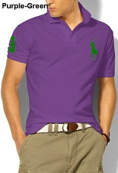 9177ef3a353252 Ralph Lauren Men Custom-Fit Big Pony Polo Purple Green Purple Polo Shirts,  Polo