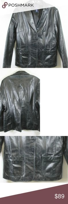 GAP BLACK LEATHER JACKET This jacket s in like new condition, the lining is clean. Looks to have never been worn. 🌲🎄🎅 GAP Jackets & Coats Blazers