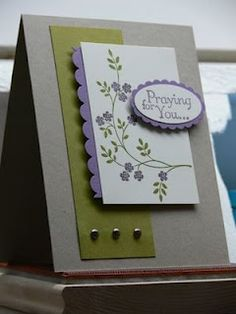 Stamps- Thoughts & Prayers; Paper- Kraft, Old Olive, Perfect Plum, Very Vanilla; Ink- Perfect Plum, Old Olive; Accessories- large oval punch, scallop oval punch, scallop border punch, silver brads, dimensionals